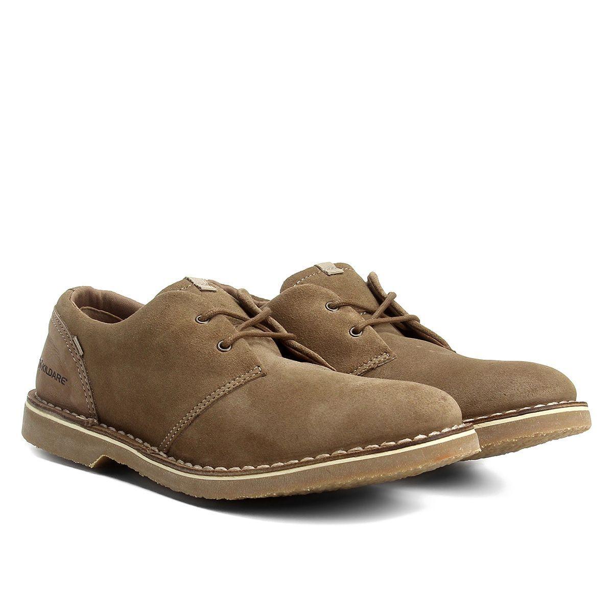 Sapato Casual Couro Kildare Sahara Camurça / Marrom Claro