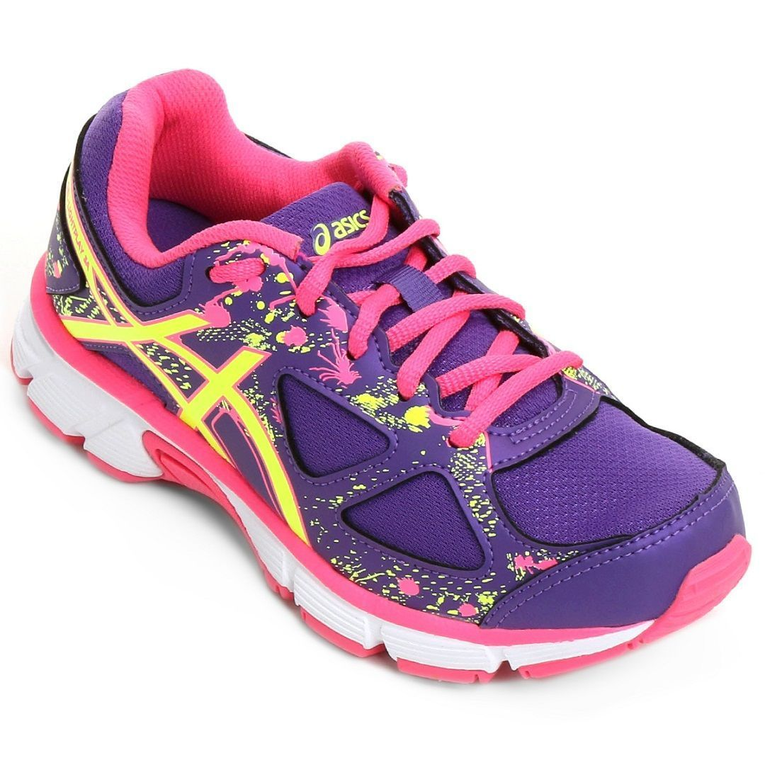 Tênis Asics Gel-Light Play 3 A Gs Infantil / Roxo - Amarelo